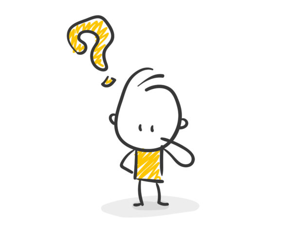 Strichfiguren / Strichmännchen: Fragen, Fragezeichen. (Nr. 2)