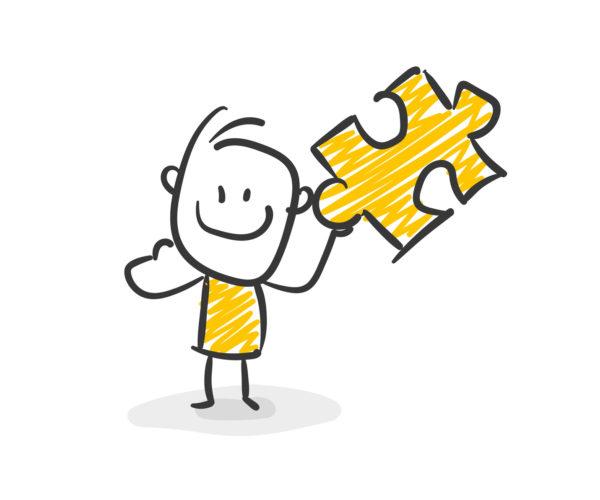 Strichfiguren / Strichmännchen: Puzzle, Lösung. (Nr. 32)