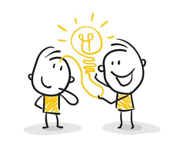 Strichfiguren / Strichmännchen: Business, Idee. (Nr. 59)